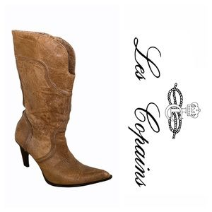 Les Copains Brown Leather Heeled Boots (37)